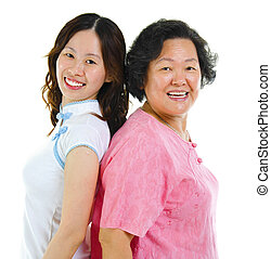 Portrait of two Asian women back to back, over white...