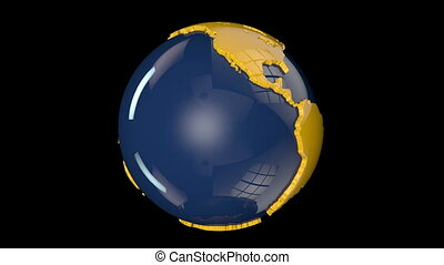 Earth Globe Blue and Yellow Rotating against black, loop