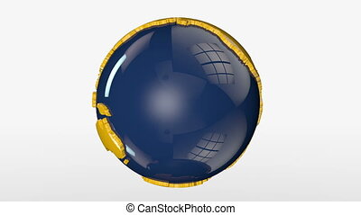 Earth Globe Blue and Yellow Rotating, loop, Alpha