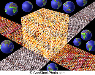 cube - A cube of precious golden stones with globes