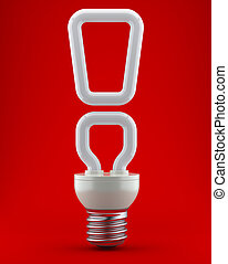 Bulb in the form of a exclamation mark on a red background...