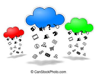 Cloud computing competition concept illustration