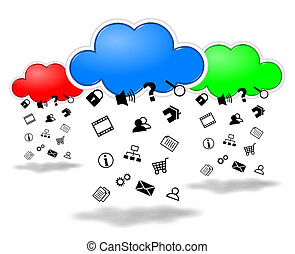 Clouds computing competition concept illustration