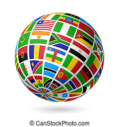 Flags globe Africa - Vector illustration