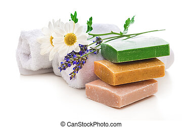 Toiletries - handmade soap bars with lavender flowers on...