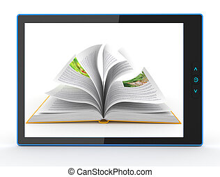 E-book reader. Books and tablet pc. 3d - E-book reader....
