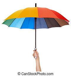 Holding multicolored umbrella isolated