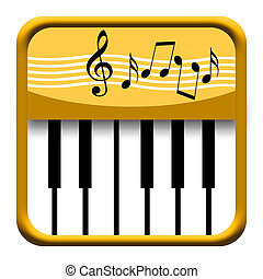Piano Music - Golden piano button with musical notes...