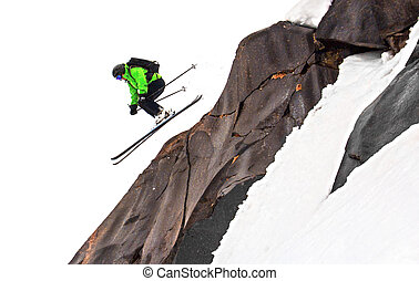Jump skier with basalt black rock - Jump skier woman with...