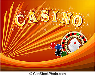 Casino 3 - Illustration of casino background with chips and...