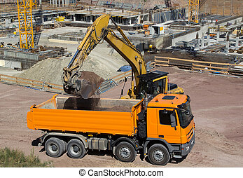 Construction Site - Construction site with tractor and dump...