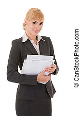 Young smiling business woman with documents isolated on...