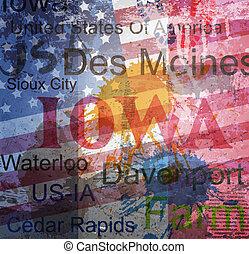 Iowa State. Word Grunge collage on background.
