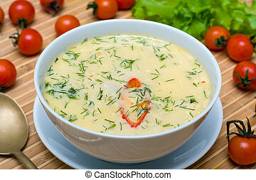 Cream soup with chicken broth with vegetables