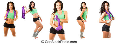 collection of beautiful fitness woman with towel after...