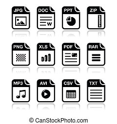 File type black icons with shadow s - Popular internet file...
