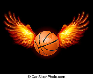 Basketball-Fiery wings, a color illustration on a black...