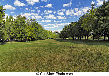 Wall of Ciudadela in Pamplona - Taconera Park in Ciudadela,...