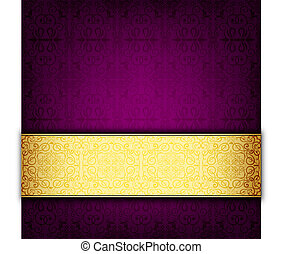 Purple abstract celebration card - Old turkish motifs and...