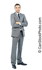 Full body portrait of happy smiling business man, isolated...
