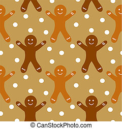 Gingerbread seamless pattern - Gingerbread man seamless...