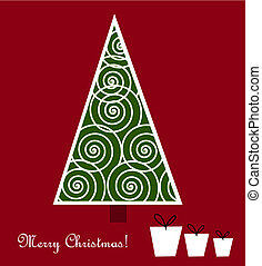 Christmas tree and presents - vector illustration card