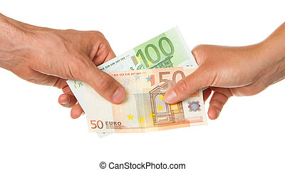 Man giving 150 euro to a woman, isolated on white