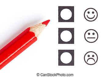 Red pencil choosing the right smiley mood