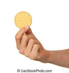 homem, biscoito, seu, mão