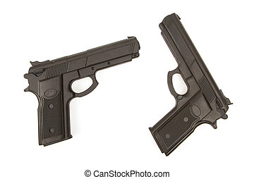 Two semi -automatic pistols used for training martial arts...