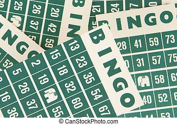 verde, Bingo, Cartões, isolado