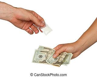 lonend, vrouw, drugs, (man), zak, het verkopen, cocaïne,...