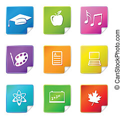 Education sticker icons - A set of nine multicolored...