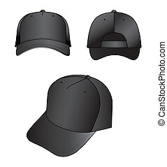 Cap - Black cap vector illustration isolated on white. EPS8...