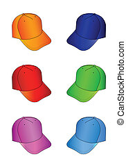 Cap set - Multicolored caps vector illustration isolated on...