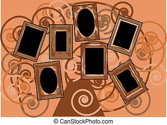 tree of life. abstract background with empty frames