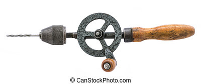 old hand drill - old rusty hand drill isolated over white