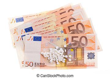 White pills on some 50 euro banknotes - White pills on some...
