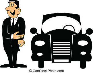 car salesman - cartoon of car salesman over white in retro...