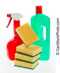 House cleaning product. Plastic bottles with detergent and...