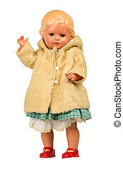 Very old baby doll (1940s), made with authentic clothing,...