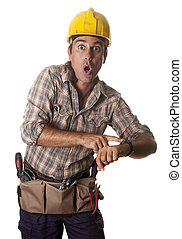 delay man - one construction worker, arriving late to work