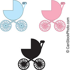 Baby Carriage Colors - Isolated baby carriages in blue, pink...