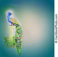 Watercolor peafowl bird on grey paper background