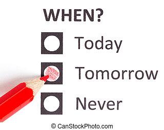 Red pencil choosing (deadline) - Red pencil choosing between...