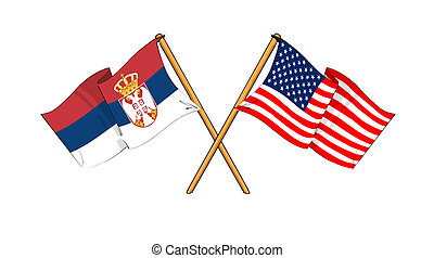 America and Serbia alliance and friendship - cartoon-like...