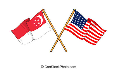 America and Singapore alliance and friendship - cartoon-like...