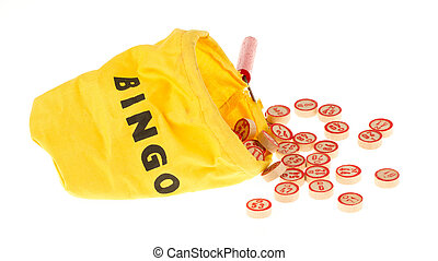 Wooden kegs in a yellow sack - Lotto game: wooden kegs in a...
