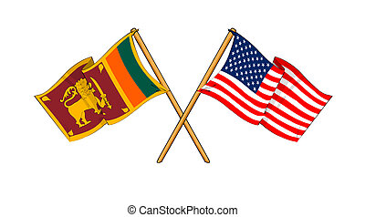 America and Sri Lanka alliance and friendship - cartoon-like...