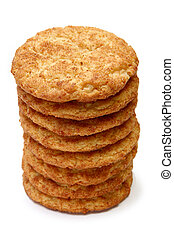 Snickerdoodle - Stack of snickerdoodles over white.